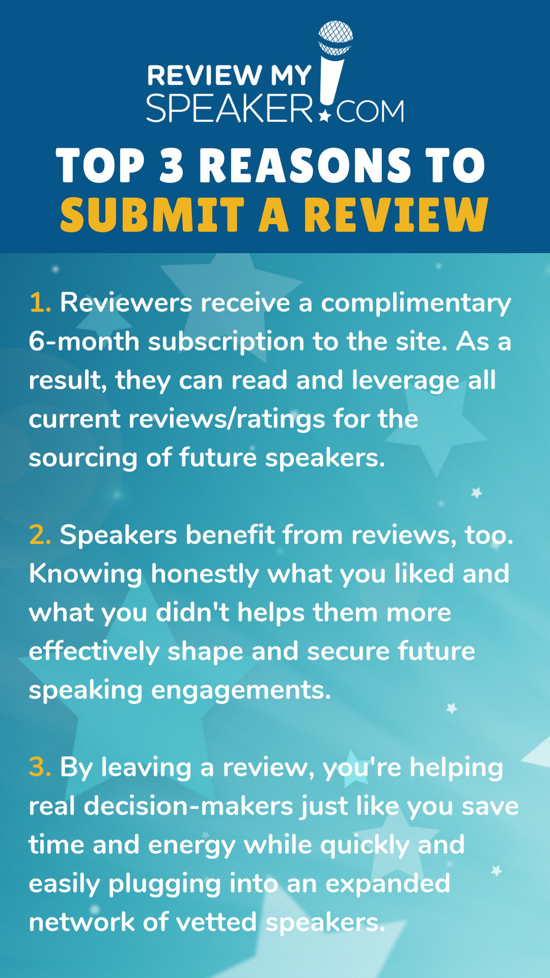 Top 3 Reasons to Review a Speaker